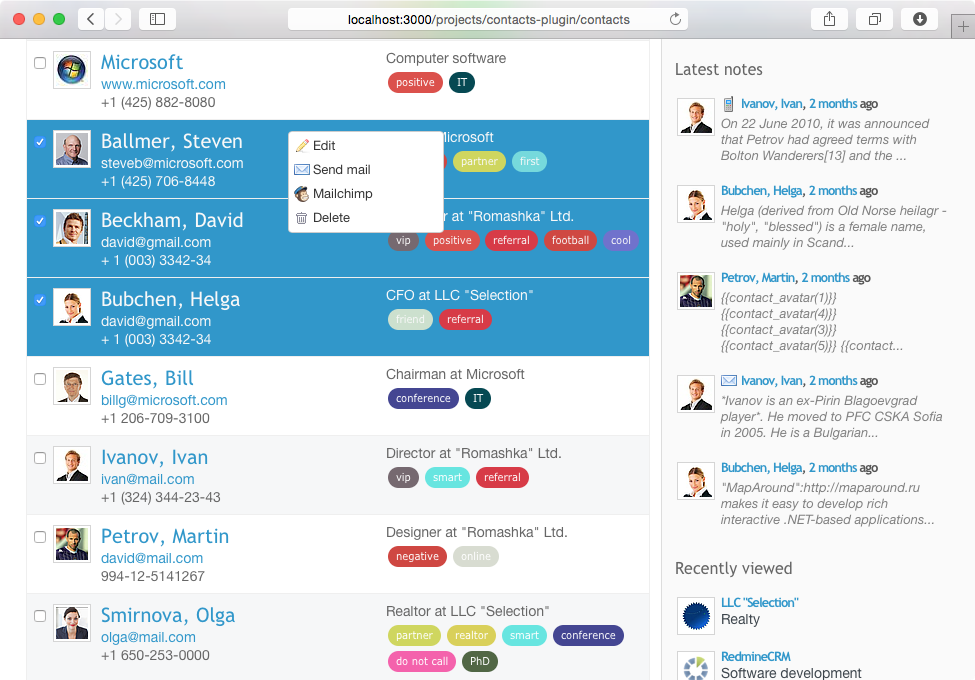 Redmine Mailchimp plugin: integrate contacts with Mailchimp and CRM