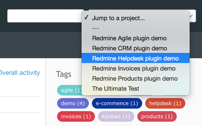 Redmine Favorite Projects plugin from RedmineUP