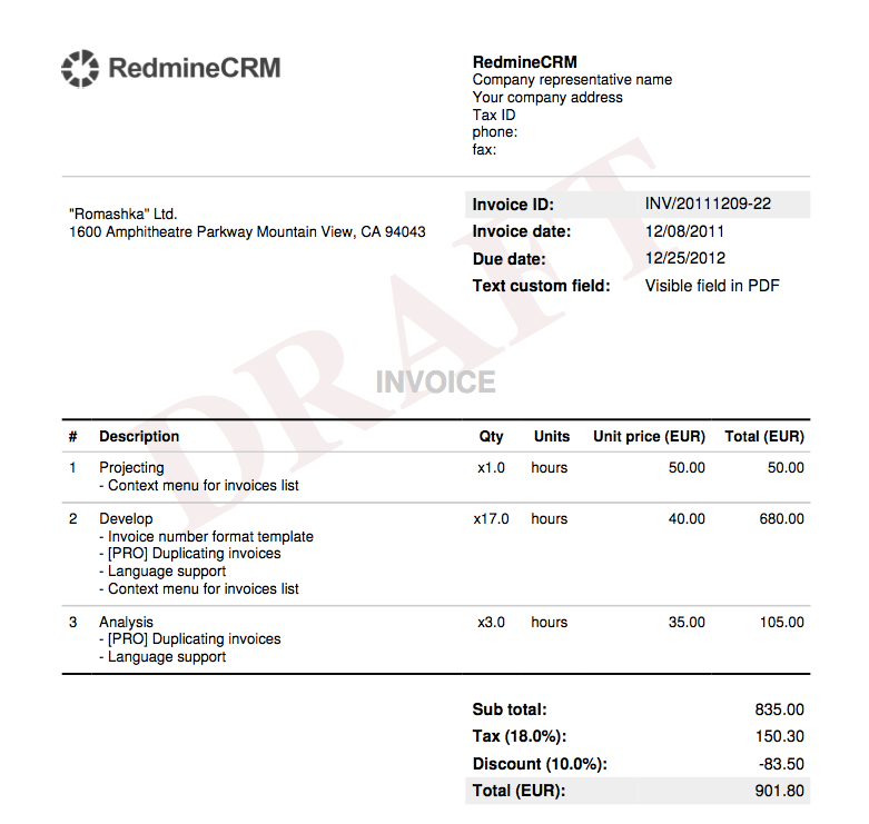 invoice templates invoices plugin documentation