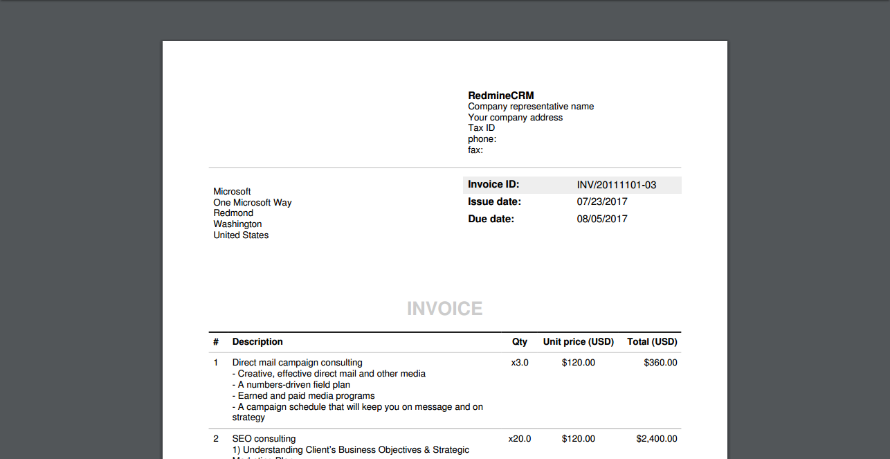 Public View RedmineUP Help Invoices Plugin Documentation - Invoice 360
