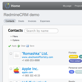 Redmine RedmineCRM theme