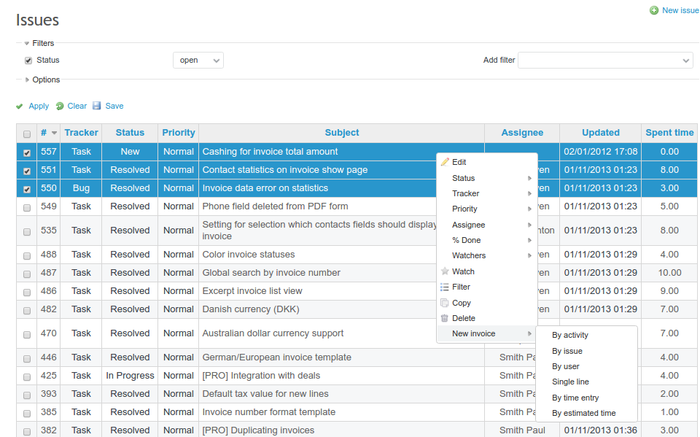 Generate Invoice Lines From Time Entries And Issues List RedmineUP - Issue invoice