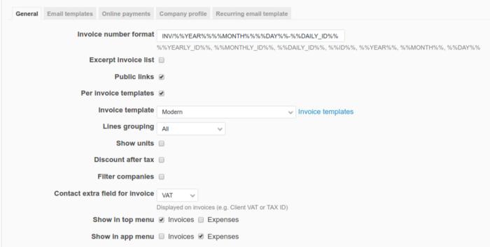 Invoices Settings Invoices Plugin Documentation