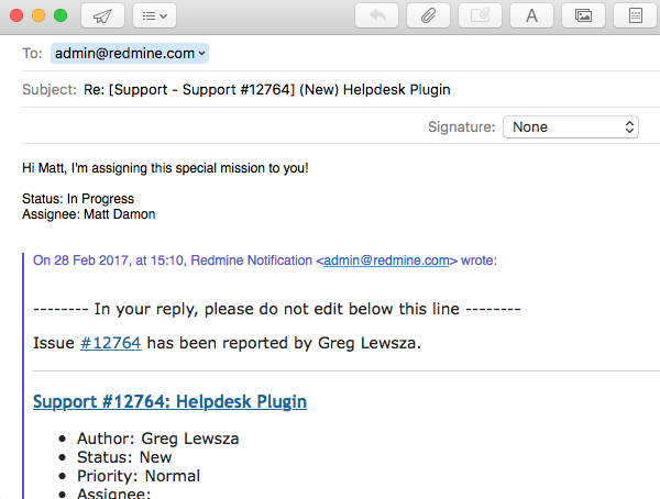Respond to email notifications | RedmineUP Help | Helpdesk